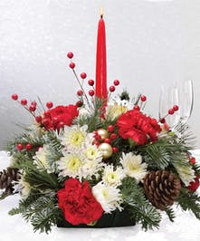 Christmas Centerpiece with a candle.