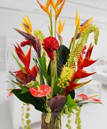 Tall vase filled with tropical flowers like birds of paradise and anthuriums.