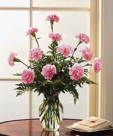 "Pink Carnations symbolize ""I'll Never Forget You"""