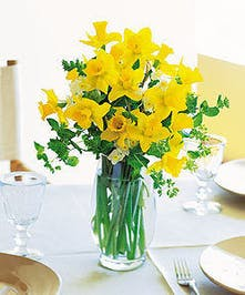 Daffodils and greenery in a glass vase.