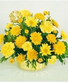 Bouquet of long-lasting yellow cut flowers and 50th anniversary marker.