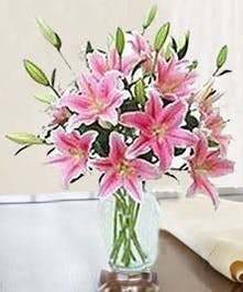 Stargazer lilies in a clear glass vase with greenery.