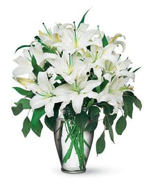 Lovely white oriental lilies & seeded eucalyptus