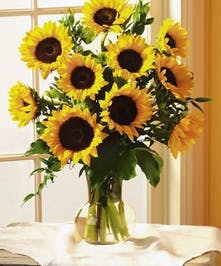 Sunflowers and greenery in a clear glass vase