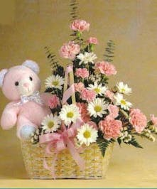 Pink carnations and white daisies in a basket with a pink plush bear.