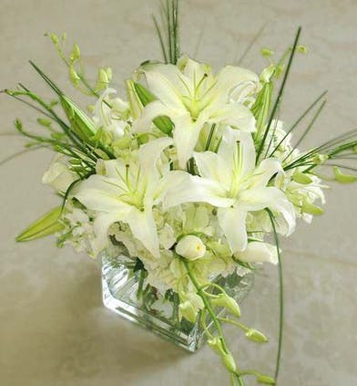 White Lilies, Orchids, Rose - Glass Vase - Marco Island Florist