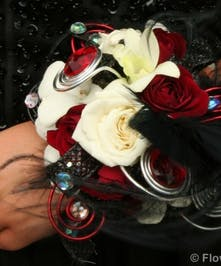White & Red Rose Corsages - Marco Island Florist