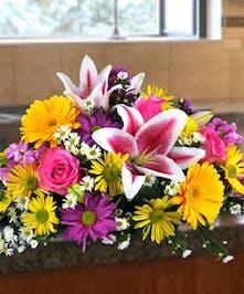 Bright floral centerpiece.