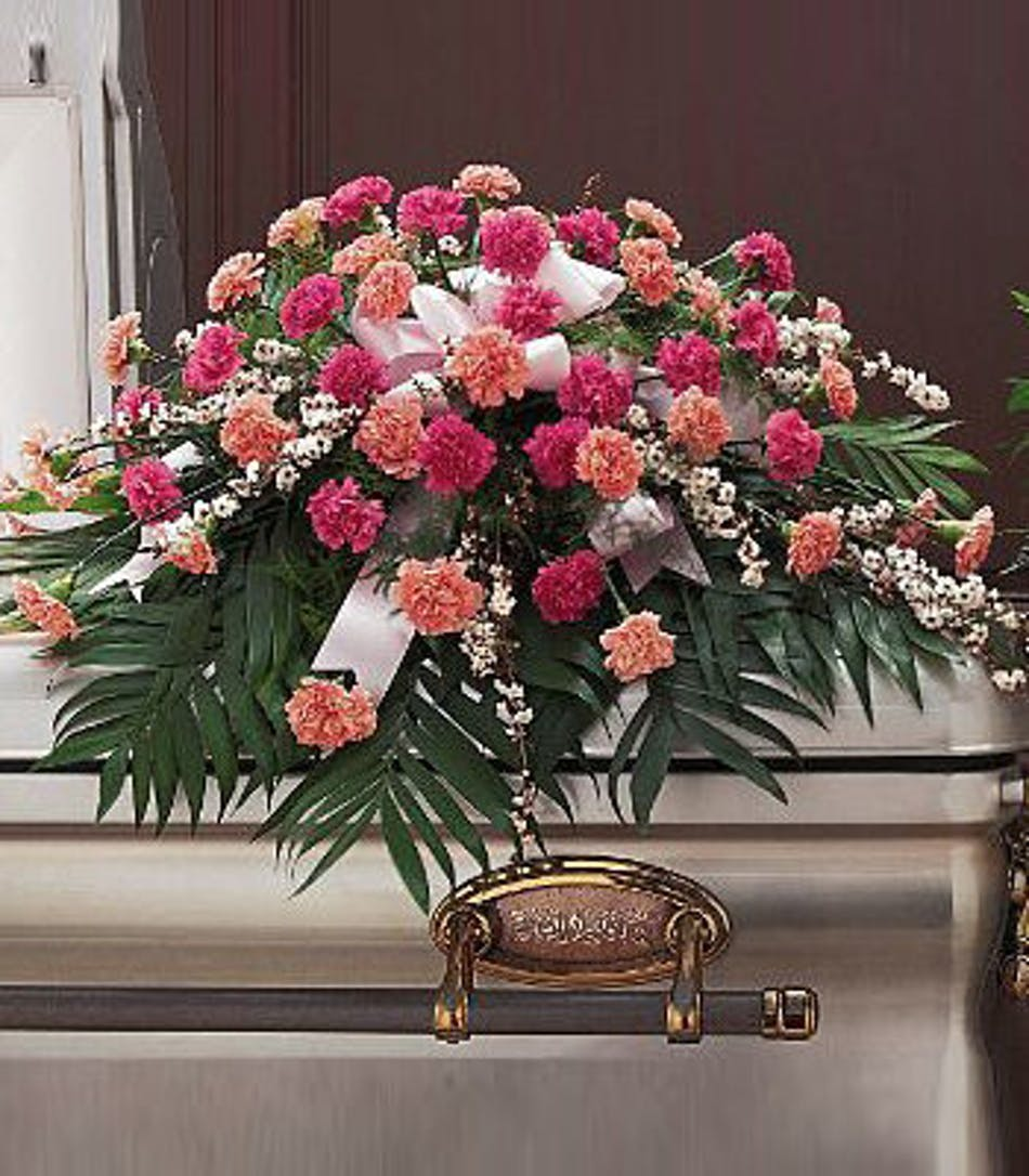 Delicate Pink Casket Spray Naples Funeral Flower Delivery