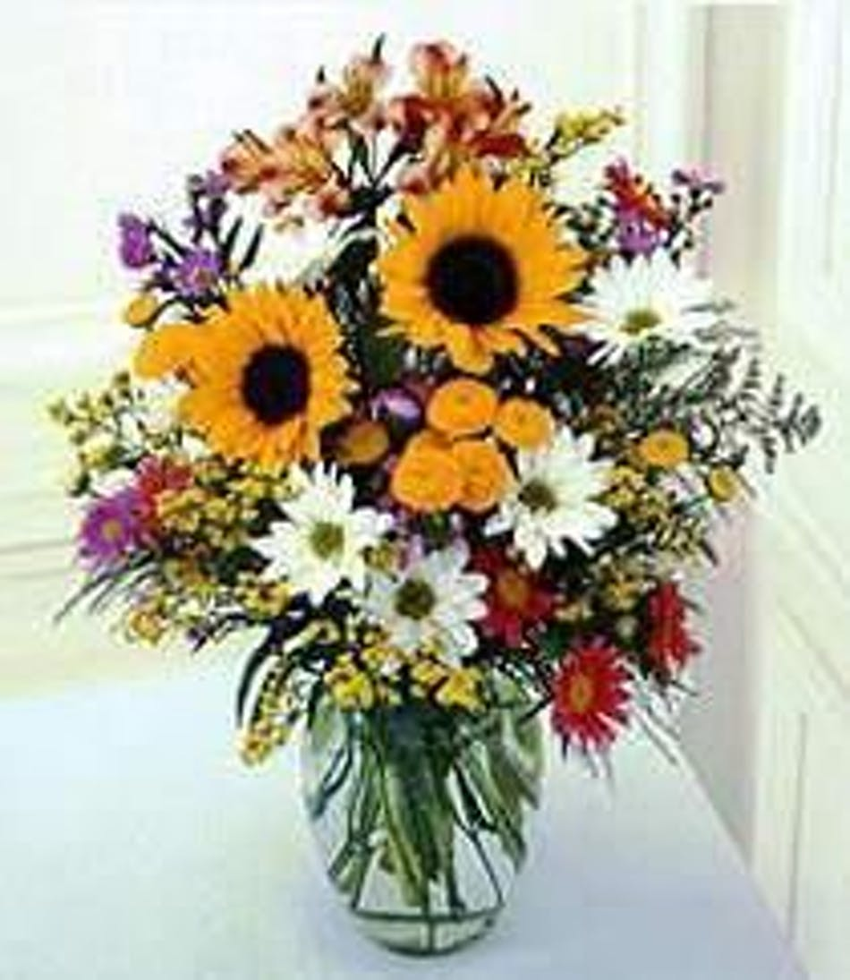 A Sunflower Surprise Sunflowers Delphinium Orted Filler Flowers Marco Island Flower Florida Fl Naples Delivery