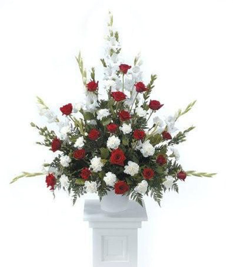 Red White Funeral Flower Tribute Naples Same Day Delivery