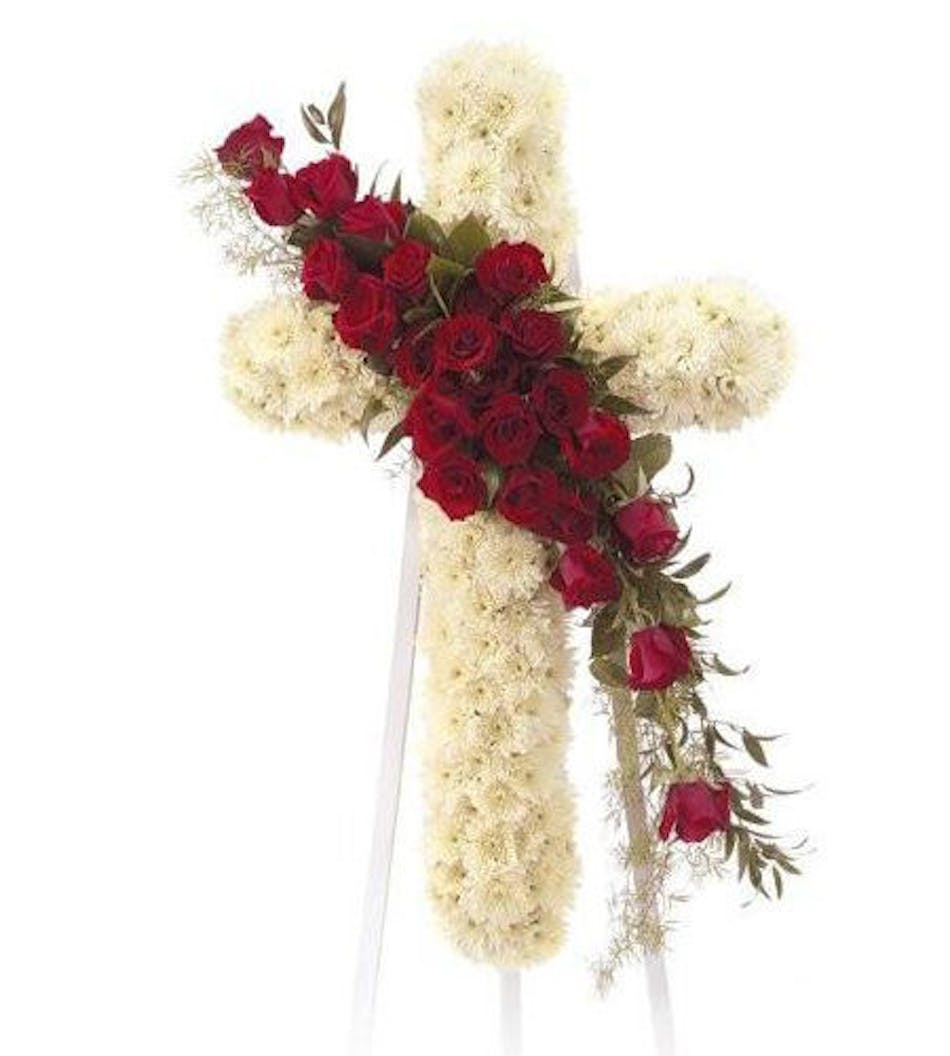 Standing cross religious funeral flower design marco island florist delivery by 10am today available order within izmirmasajfo