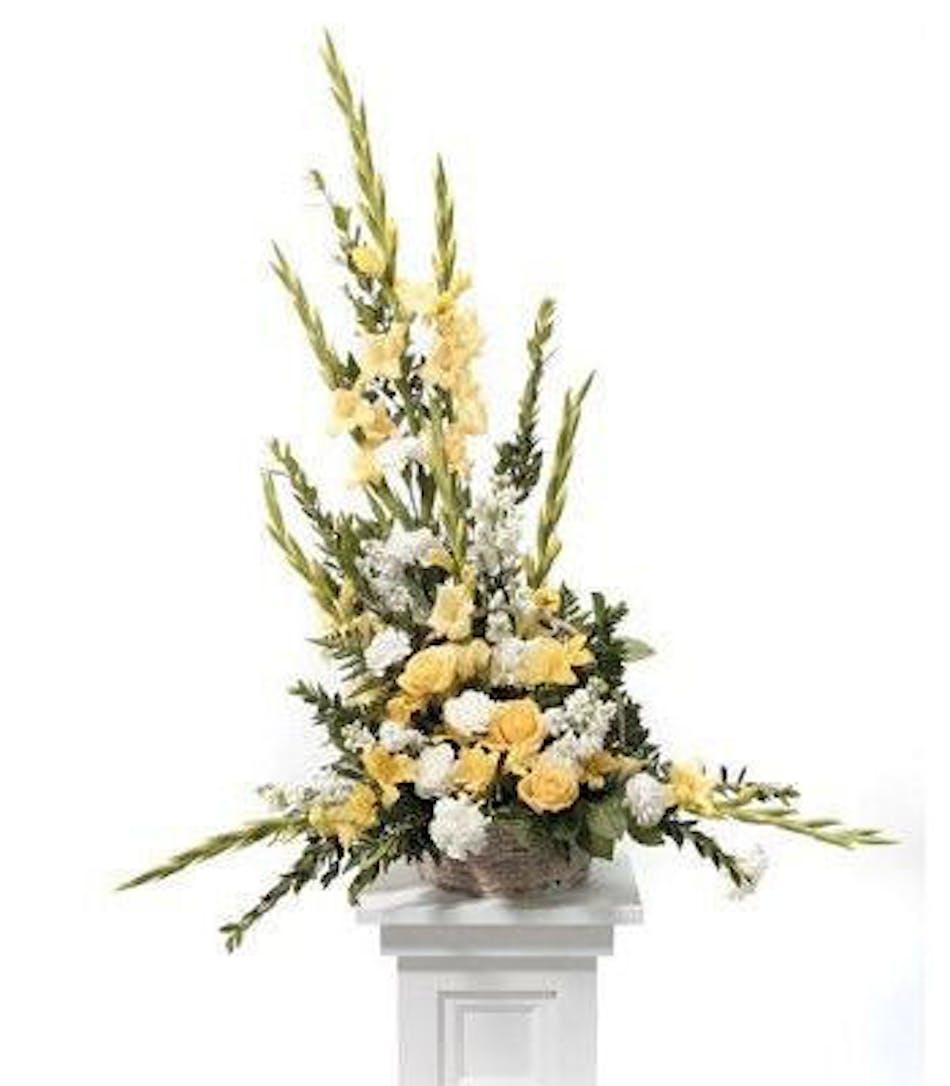 Basket of faith yellow white funeral flower arrangement izmirmasajfo