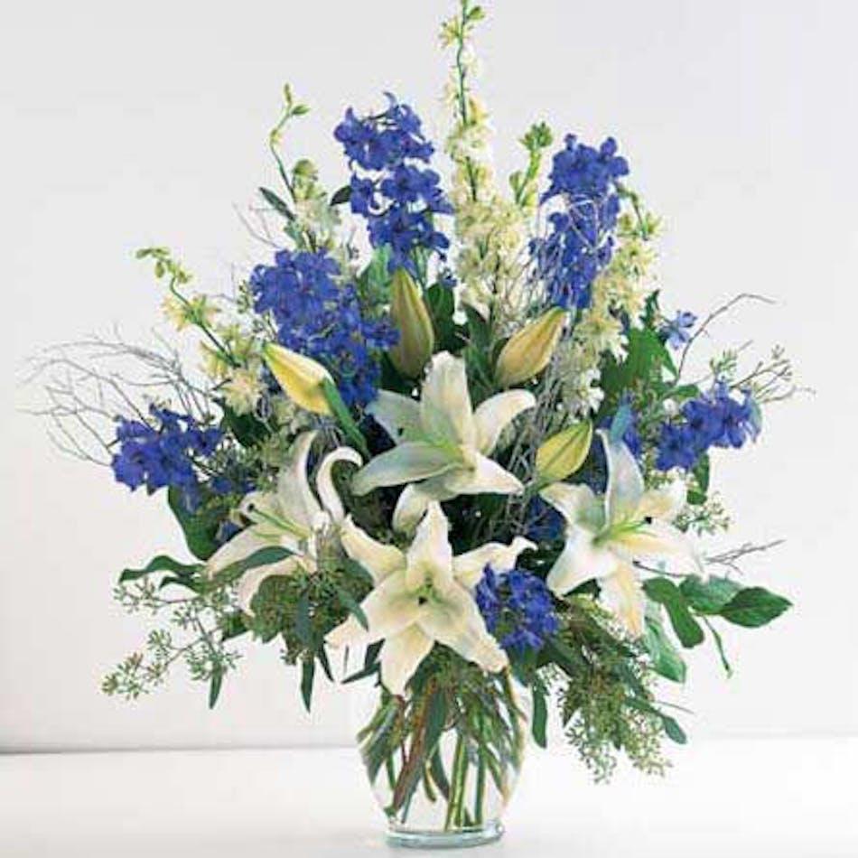 Starburst Blue White Flower Arrangement Naples Delivery