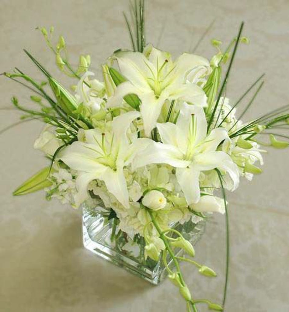 White Lilies Orchids Rose Glass Vase Marco Island Florist